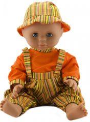 Teddies dojenček, 40 cm, trdo telo, z oranžnimi hlačami, majico in klobučkom