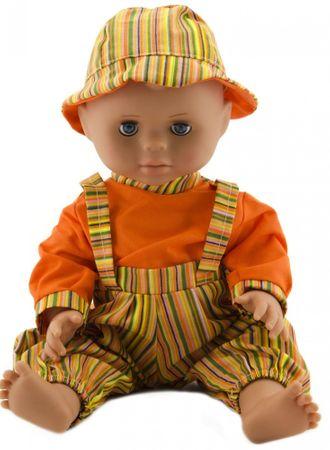 Teddies Baba 40 cm, erős test narancssárga csík + narancssárga ing + kalap