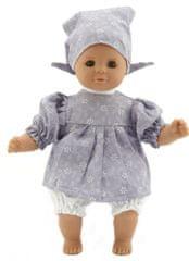 Teddies dojenček, 30 cm, s svetlo sivo obleko in kapo