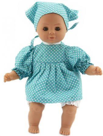 Teddies lutka, 30 cm, z modro obleko z belimi pikami in šalom