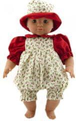 Teddies dojenček v beli oblekici z vzorcem šopkov rož, klobukom 40 cm