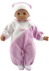 Teddies dojenček v roza-beli oblekici s kapo, 50 cm