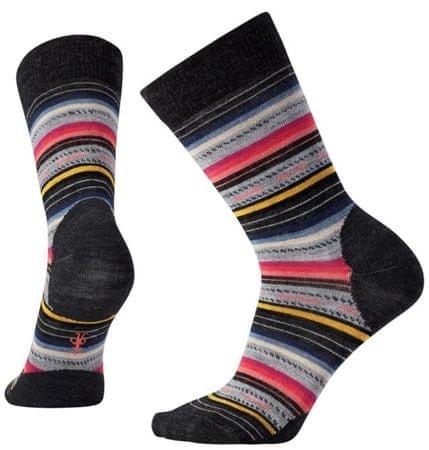 SmartWool ženske nogavice W Margarita Charcoal Stripe, črno sive, L