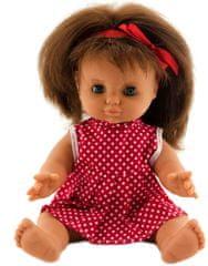 Teddies Panenka 30 cm, pevné tělo červené šaty s puntíky