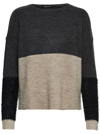 ONLY Dámský svetr Santana L/S Block Pullover Knt Dark Grey Melange (Velikost XS)