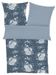 Ibena posteljina od pamučnog satena s cvjetnim motivom, tamnoplava