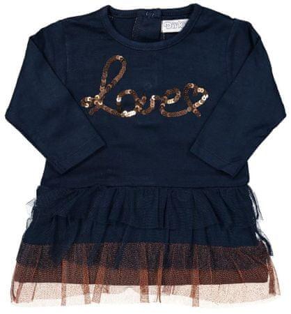 Dirkje dekliška oblekica z napisom, 98, modra