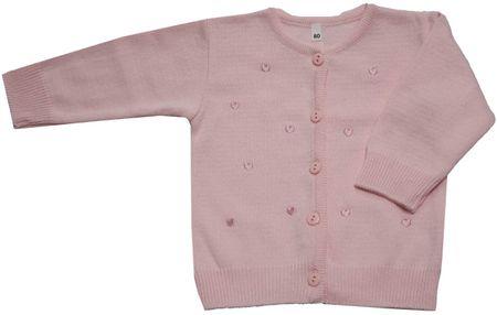 EKO dievčenský sveter so srdiečkami 92 svetloružová