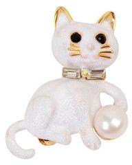 JwL Luxury Pearls Brošňa Kočička s pravou perlou a kryštály JL0385