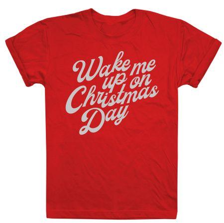 Christmas T-shirt ženska majica Wake Me Up On Christmas Day, XL, crvena