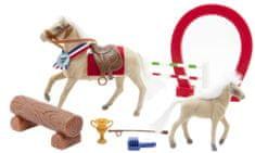 Teddies set konj in žrebiček z ovirami za dirke
