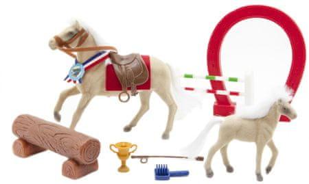 Teddies Kůň fliška s hříbětem a doplňky
