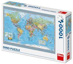 DINO slagalica Karta svijeta, 1000 dijelova