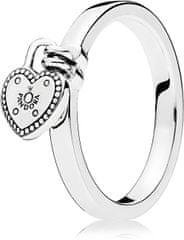 Pandora Srebrni prstan s ključavnico v obliki srca 196571 srebro 925/1000