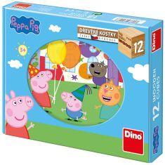 DINO Peppa pig Drevené kocky 12 ks