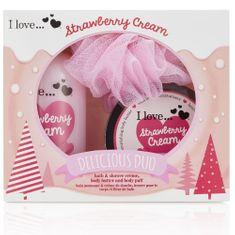 I Love Cosmetics Darčeková sada s vôňou jahôd a sladkého krému Strawberry Cream (Delicious Duo)