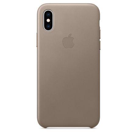 Apple ovitek za iPhone XS, usnjen, sivo-rjav
