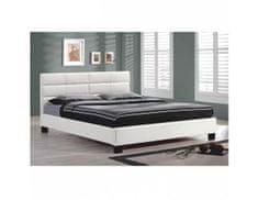TEMPO KONDELA Manželská postel s roštem MIKEL, 160x200cm, bílá textilní kůže