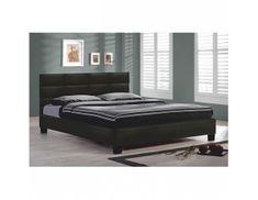 TEMPO KONDELA Manželská postel s roštem MIKEL, 160x200, černá textilní kůže