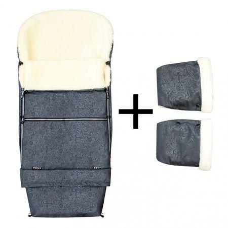 Emitex Zimný set ROMANCE COMBI + rukavice sivá