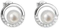 Evolution Group Ezüst fülbevaló bazsalikom valódi gyöngyökkel Pavon 21022.1 ezüst 925/1000