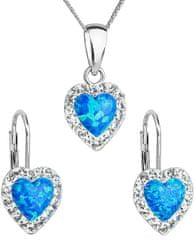 Evolution Group Srdíčková souprava šperků 39161.1 & blue s.opal (náušnice, řetízek, přívěsek) stříbro 925/1000