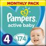 8 - Pampers Pleny Active Baby 4 Maxi (9-14 kg) Měsíční balení - 174 ks