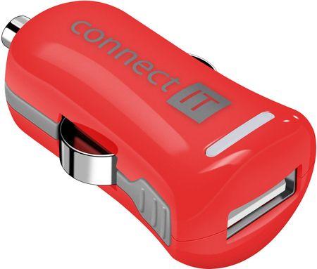Connect IT ładowarka samochodowa InCarz COLORZ adapter samochodowy 1xUSB 2,1A, czerwona (V2) CI-1121