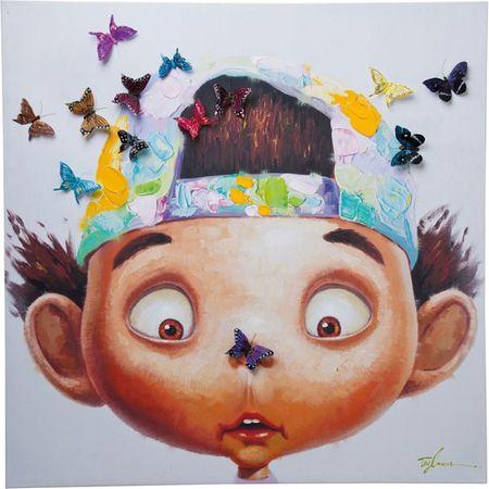 KARE Obraz s ručními tahy Boy with Butterflys 100x100cm