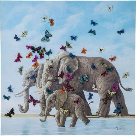 KARE Obraz s ručními tahy Elefants with Butterflys 120x120cm