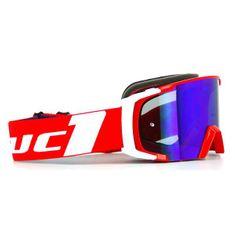 Motocyklové crossové okuliare Scrub LUC1 červená-biela