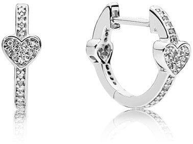 Pandora Stříbrné třpytivé náušnice se srdíčky 297290CZ stříbro 925/1000