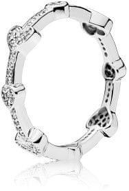 Pandora Stylowy Srebrny pierścionek z serduszkami 197729 CZ (obwód 52 mm) srebro 925/1000