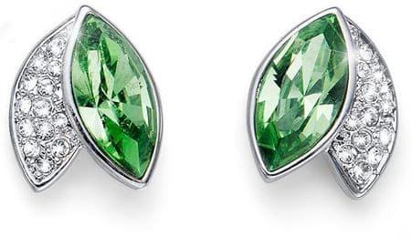 Oliver Weber Elegantni uhani z zelenimi kristali Leaf 22686 MUL