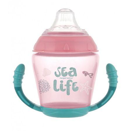 Canpol babies Toys szilikon itatópohár 230 ml sea life rózsaszín
