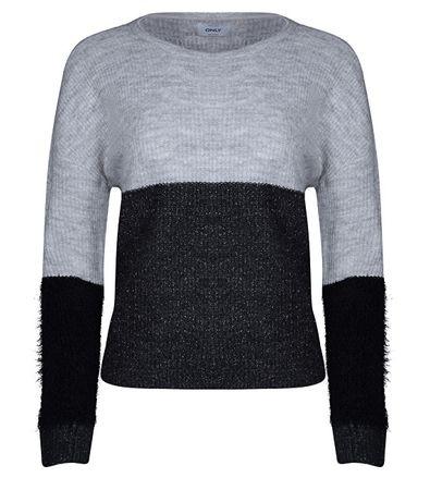 ONLY Damski sweter Santana L / S Bloc to Pullover Knt LightGrey Melange (rozmiar XS)