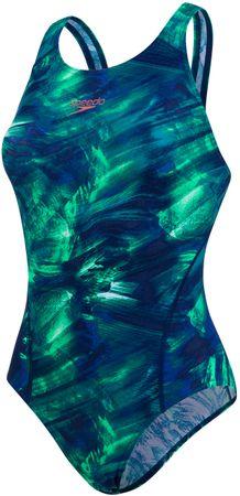 Speedo strój jednoczęściowy Fluoflow Allover Recorbreaker Blue/Green 34