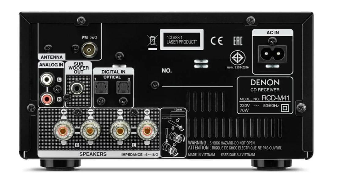 minisystém Denon RCD-M41 cd mechanika bluetooth bezdrátové připojení