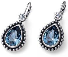 Oliver Weber Beach Antique Drop kék kristállyal díszített romantikus fülbevaló 22636 207