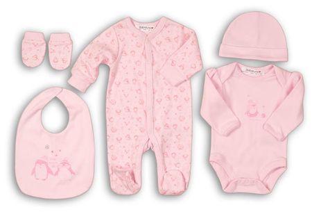 Minoti dekliški komplet za dojenčke Penguin, 56, roza
