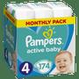 1 - Pampers Pleny Active Baby 4 Maxi (9-14 kg) Měsíční balení - 174 ks