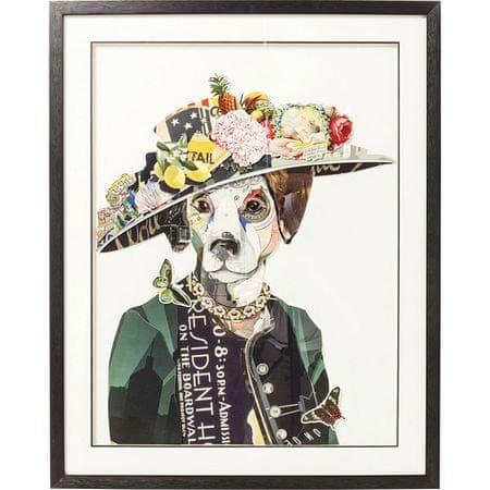 KARE Obraz s rámem Art Lady Dog 90×72 cm