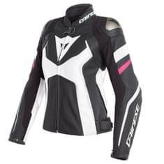 Dainese AVRO 4 LADY dámská kožená bunda na motorku, černá/bílá/růžová