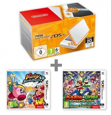Nintendo New 2DS XL White&Orange + Kirby Battle Royale + Mario & Luigi: Supersaga