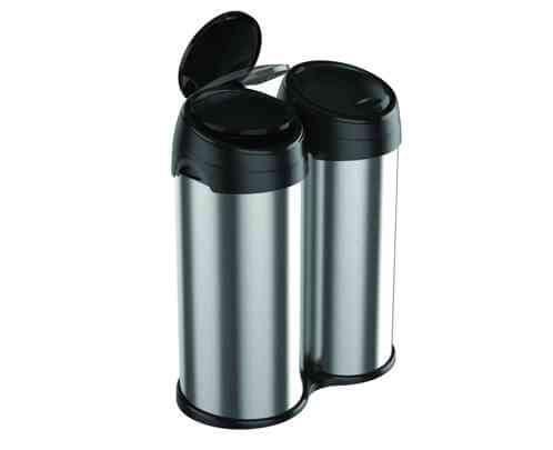 Meliconi Dvoukomorový odpadkový koš ECOLUX 60 l kartáčovaná ocel