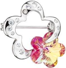 Preciosa Stříbrná brož Crystal Flower Fuchsia 6726 55 stříbro 925/1000