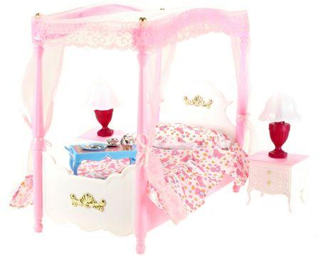 Lamps łóżko z baldachimem do domu dla lalek Glorie