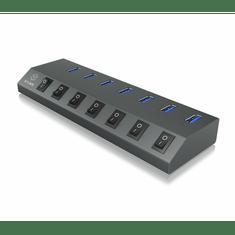 IcyBox USB razdjelnik, 7 portova s memorijom IB-HUB1701-U3 z USB-C vezom