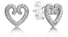 Pandora Romantikus szív fülbevaló 297099CZ ezüst 925/1000