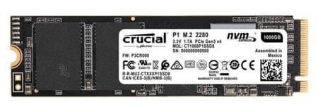 Crucial SSD disk P1, 1 TB, M.2 80 mm, PCI-e, 3.0 x 4 NVMe, 3D QLC